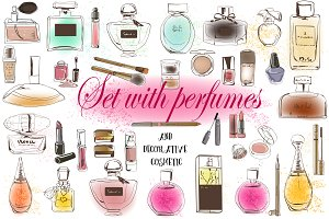 Set with perfumes and cosmetic