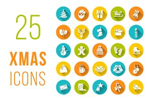 Christmas symbols flat vector icons