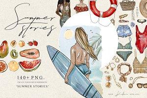 SUMMER STORIES - watercolor creator.