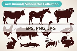 Farm Animals Silhouettes Collection.