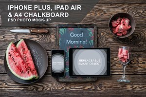 Iphone, Ipad and Chalkboard Mockup