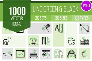 1000 Line Green & Black Icons (V4)