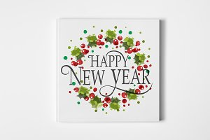 Happy New Year Floral Wreath card
