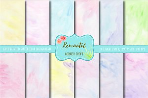 Watercolor Digital Paper Romantic