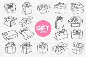 Gift boxes graphic set