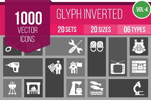 1000 Glyph Inverted Icons (V4)