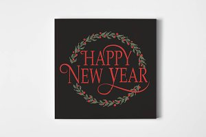 Happy New Year Lettering with Wreath