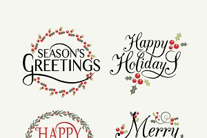 Happy Holidays Templates Set