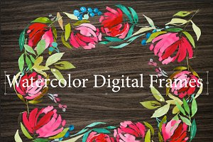 3 Watercolor Digital Frames+bonus