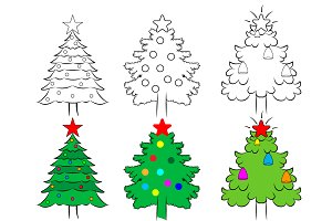 Christmas tree set template. vector