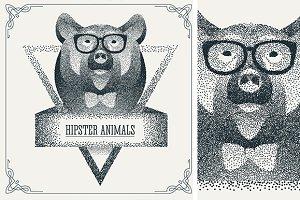 Halftone hipster bear