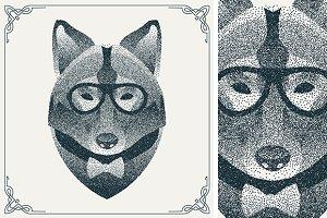 Dotwork hipster wolf
