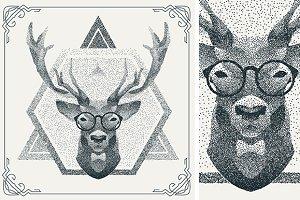 Dotwork hipster deer