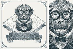 Dotwork hipster monkey
