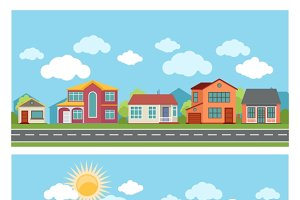 Vector banners with cottage houses