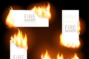 Advertisement banners with flame