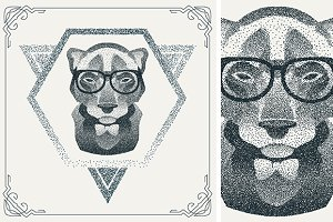 Dotwork hipster Panther