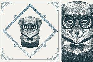 Dotwork hipster lemur