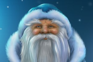 Red Santa Claus. Blue russian Santa