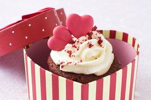 Cupcake inside a gift box