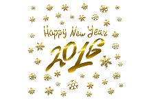 Gold Happy New Year 2016. Vector