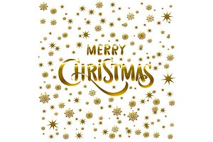 Gold Merry Christmas calligraphy