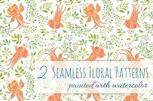 2 Floral Patterns - Orange Flowers