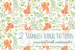 2 Floral Patterns - Orange Flowers