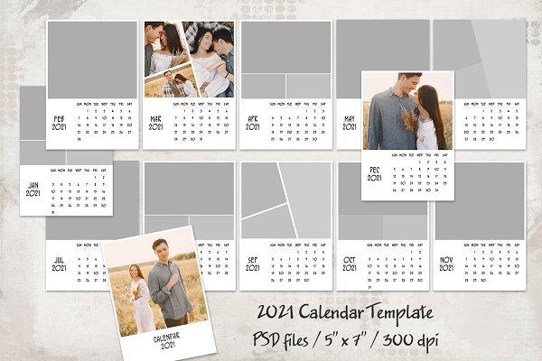 2021 Calendar Template   Creative Photoshop Templates ...