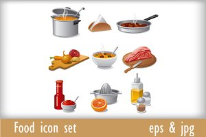 Food icons and stickers set