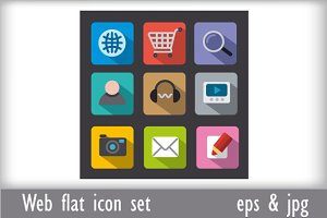 Web flat icon set