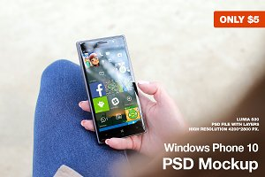 Windows Phone 10 PSD Mockup