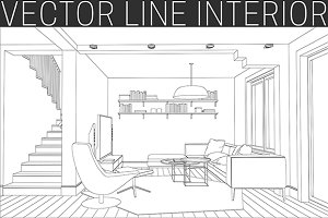 Line drawing of the living room.