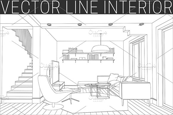Line Drawing Room : Line drawing of the living room illustrations