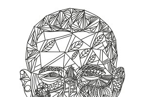 Zentangle patterned man