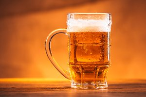 glass bright beer mug