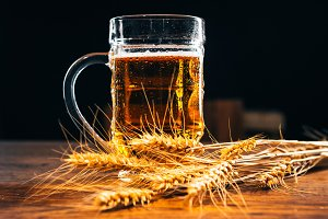 close-up  mug of light beer