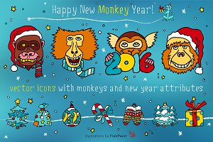 Vector icons for New Year of Monkey
