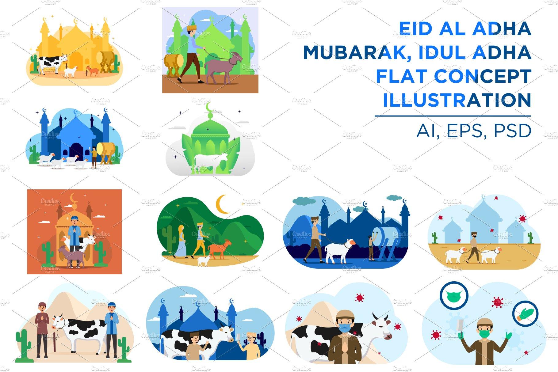 Eid Al Adha Idul Adha Flat Concept Pre Designed Photoshop Graphics Creative Market