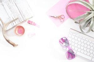 Neon Pink Blogger Desk Mockup