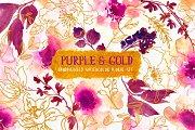 Purple & Gold - Watercolor Floral