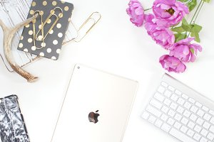 Tech With Gold & Flowers Desk Photo