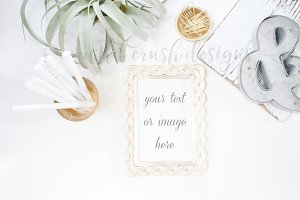 Gold & White Minimal Blogger Desk