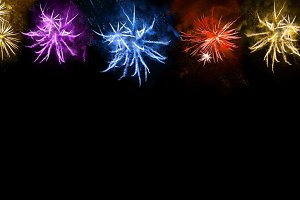 Colorful fireworks banner. Holidays