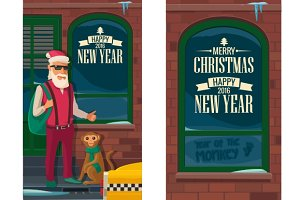 Hipster Santa Claus, monkey and taxi