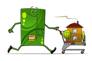 Cartoon credit card pushing a cart w