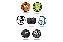 Set of cartoon sports balls characte