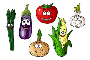 Colorful cartoon vegetables with hap