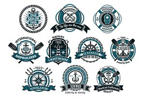 Creative seafarers or nautical logos