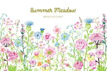 Watercolor Clipart Summer Meadow